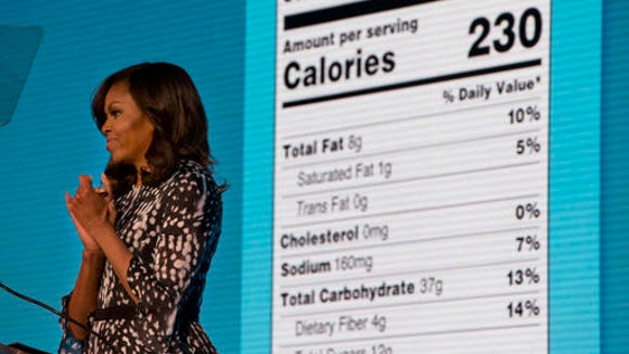 First lady Michelle Obama announces a makeover for food nutrition labels with calories listed in bigger, bolder type and a new line for added sugars, while speaking to the Building a Healthier Future Summit.