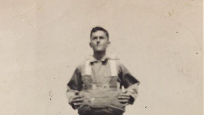 Russ Snell, paratrooper training, World War II.