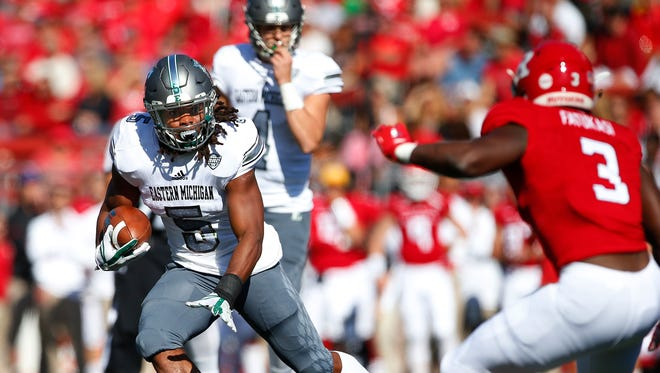 Eastern Michigan's Shaq Vann runs for yards against Rutgers in the first quarter of the Eagles' 16-13 win Sept. 9, 2017 in Piscataway, New Jersey.