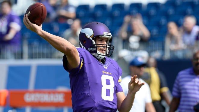 Minnesota Vikings quarterback Sam Bradford warms up before an NFL football game against the Tennessee Titans Sunday, Sept. 11, 2016, in Nashville, Tenn.