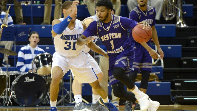 Elijah Pughsley (1), shown during a game this season against UNC Asheville, scored a career-high 28 points Thursday as WCU defeated The Citadel for its first Southern Conference victory.