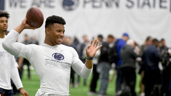 Former Penn State player Saquon Barkley showed up at the Penn State Pro Day, but aside from warming up, did not participate in the event.
