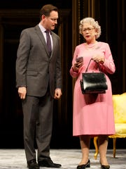 """Rufus Wright (David Cameron) and Helen Mirren in """"The Audience."""""""
