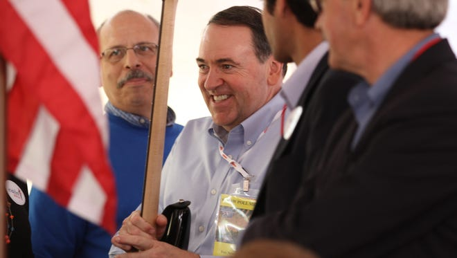 Former Arkansas Gov. Mike Huckabee at the 2011 Iowa Straw Poll in Ames.