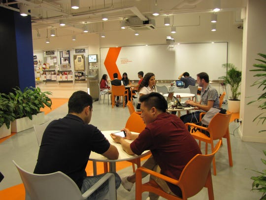 An interior workspace at Block 71, a government-backed