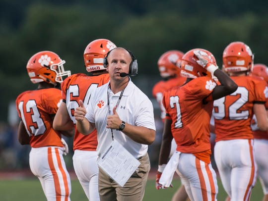 "Central York head coach Josh Oswalt, shown here coaching against West York in a file photo, said the move to drop West York from the Panthers' schedule was a ""business decision."" DISPATCH FILE PHOTO"