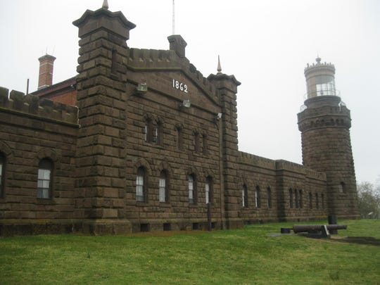 Twin Lights in Highlands, showing the north tower. The Pledge of Allegiance was recited for the first time here on April 25, 1893.