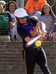 Smyrna High outfielder Kelsey Russell makes contact with a pitch during Wednesday's MTSCA All-Star Game.
