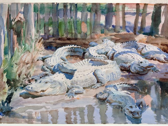 'Muddy Alligators' is a 1917 painting by   John Singer Sargent, an  American artist ((1856- 1925). The work is done in  watercolor over graphite, with masking out and scraping, on wove paper,