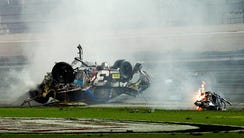 Austin Dillon's car comes to rest after crashing against