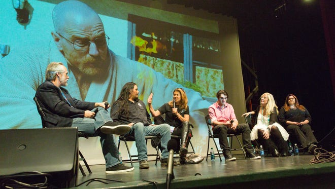 Inside Breaking Bad panel gathers at Rio Grande Theatre as part of the Las Cruces International Film Festival on Saturday, March 10, 2018. Panel members pictured from left moderator Bill True, crew member Tanbirs Sooter, still photographer Ursula Coyote, actor RJ Mitte, costumer Kathleen Detoro, makeup artist Pepper Gallegos.