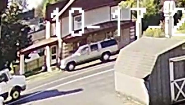 Annville Township Police believe a bank robbery suspect fled the scene in this vehicle which is believed to be a late '90s or early 2000's GMC Yukon or Chevrolet Suburban