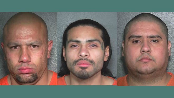 Three men (from left to right) 31-year-old Danny Balderas, 32-year-old Adrian Muniz and 28-year-old Adolfo Rodriguez have been sentenced in relation to a gang-related shooting in Greeley last year.