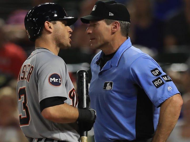 Tigers second baseman Ian Kinsler goes toe to toe with