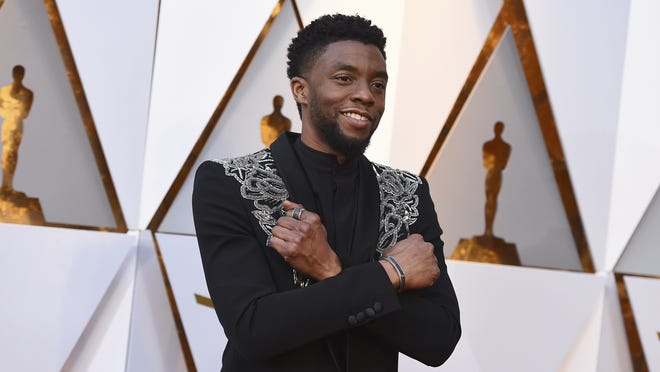 Chadwick Boseman arrives at the Oscars at the Dolby Theatre in Los Angeles in 2018.  Boseman died Aug. 28 after a four-year battle with colon cancer. He was 43.