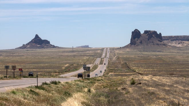 Traffic heads south Tuesday on U.S. Highway 491 south of Shiprock.