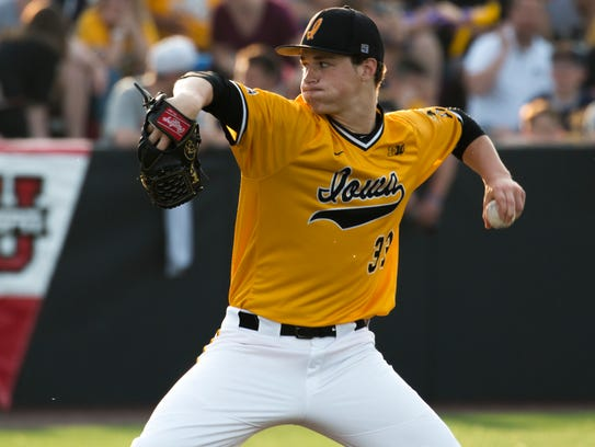 Iowa pitcher Jack Dreyer delivers a ball during a baseball