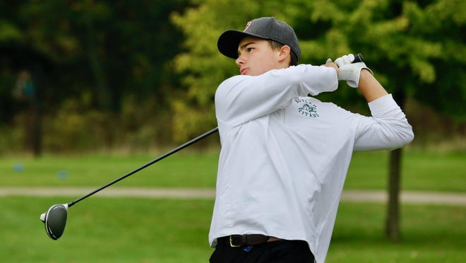 Boylan sophomore Cooper Watt hits his tee shot on No. 10 at Elliot in Saturday's NIC-10 boys golf tournament Rockford. Watt shot 71-73--144 for two days to win medalist honors by eight strokes and lead the Titans to their fourth straight title.