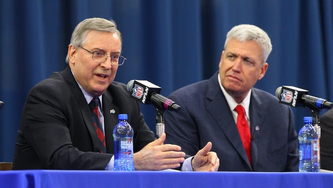 New Bills  head coach Rex Ryan and team owner Terry Pegula speak with the media.