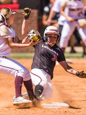 UL second baseman Haley Hayden (35) slides into the bag during a win over Texas State earlier this season.