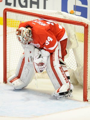 Wings' Petr Mrazek had an outstanding January but tailed off towards the end of the regular season.