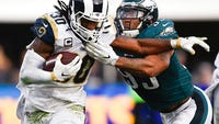 Information on the Eagles-Rams matchup, including game time, TV network, radio coverage and tickets.