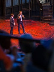 Brian Vaughn and David Ivers, the artistic directors for the Utah Shakespeare Festival, speak during the Thursday evening dedication ceremony for the festival's Engelstad Shakespeare Theatre in Cedar City.