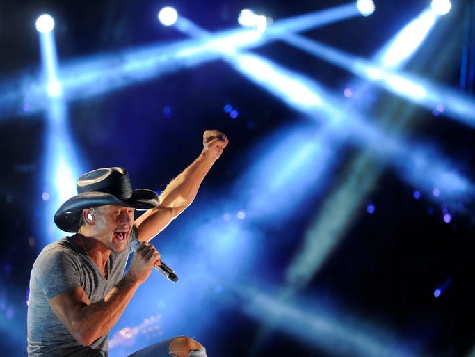 Tim McGraw performs at CMA Fest at LP Field Thursday June 5, 2014, in Nashville, TN.