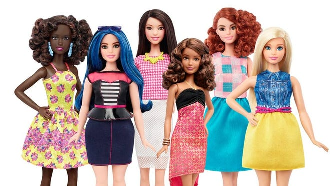 Mattel announced that it's expanding its Fashionista Barbie line to include three new body types - tall, petite and curvy.