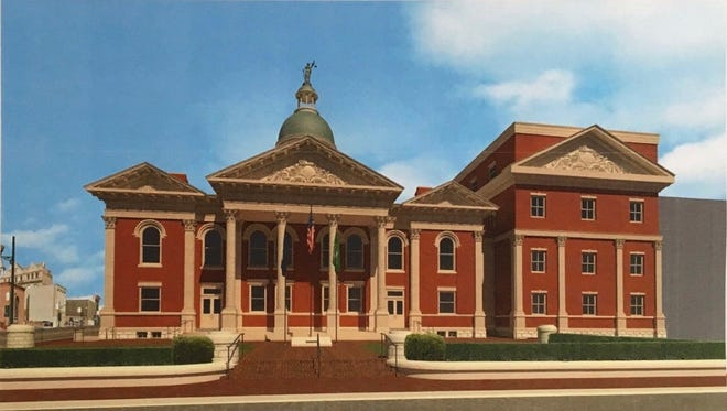 A rendering of Augusta County's proposed design for its new courthouse, as seen from East Johnson Street, unveiled at the board of supervisors meeting on May 10, 2017. The design would expand the footprint of the facility, requiring purchase and demolition of 10 properties surrounding the existing building. The structure on the right side of the image would sit behind the Echols Building, which would remain in place under the county's proposed plan.
