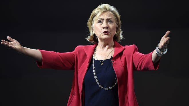 Hillary Clinton delivers a speech during a conference at the National Auditorium in Mexico City on Sept. 5, 2014.