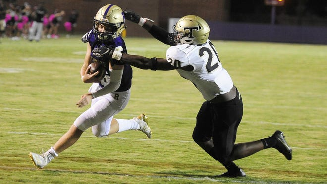 Jackson Murphy of ARC, left, is being pursued by Kurtis Cummings of Thomson near the goal line at the high school football game between Thomson and ARC on October. 16, 2020 in Augusta, Ga.