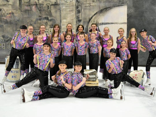 "Manitowoc County Figure Skating Club's annual ice show is Friday-Sunday at the Ice Center. Pictured is the cast for the ""Newsies"" program."