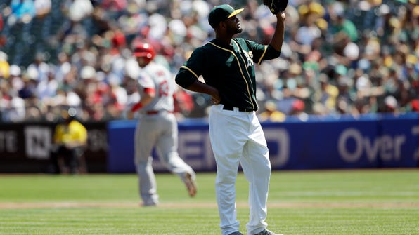 Oakland Athletics starter Raul Alcantara waits for the throw form the plate after hitting Los Angeles Angels Jett Bandy, left, with a pitch during the first inning of a baseball game Monday, Sept. 5, 2016, in Oakland, Calif. (AP Photo/Marcio Jose Sanchez)