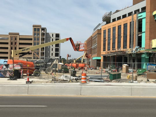 An electrical worker died after falling 75 feet at the new Little Caesars Arena construction site in Detroit on Wednesday, June 28, 2017.