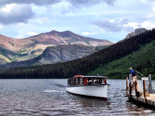 Sinopah boat on Two Medicine Lake in Glacier National Park.