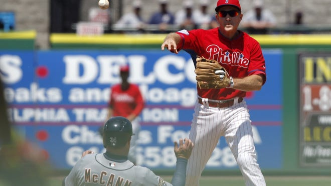 Chase Utley, who has chronic knee problems, hasn't played in the field because of a right ankle sprain.