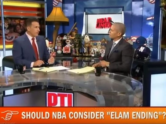 ESPN hosts Frank Isola, left, and Israel Gutierrez discuss the Elam Ending.