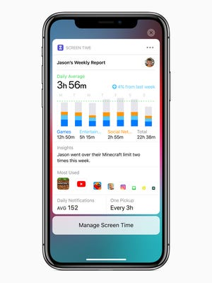 A screenshot of Apple's upcoming app Screen Time for iOS 12.