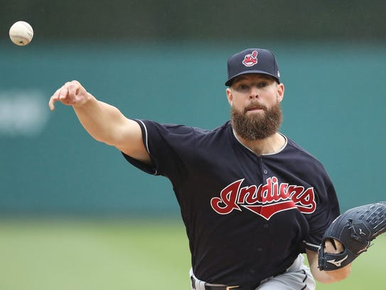 Corey Kluber of the Cleveland Indians warms up prior
