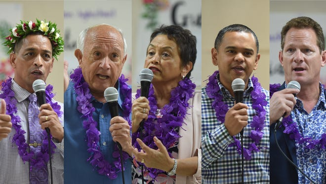 A gubernatorial forum was held by the students at George Washihgton High School in Mangilao on Tuesday, May 15, 2018. Candidates in attendance, from left in alphabetical order: Democratic candidate Sen. Frank Aguon Jr.; Democratic candidate former Gov. Carl Gutierrez; Democratic candidate Lou Leon Guerrero; Democratic candidate Sen. Dennis Rodriguez Jr. and Republican candidate Lt. Gov. Ray Tenorio.