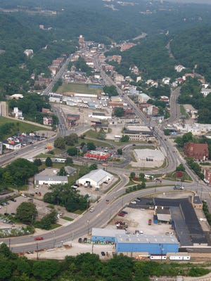 An aerial view of the South Fairmount business district, which would undergo major changes if the Lick Run restoration is undertaken.