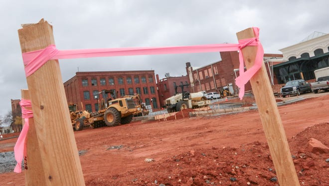 A city parking lot behind the Bleckley Station event center is not yet finished.