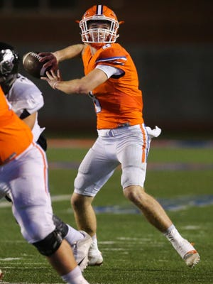 Central's Maverick McIvor passes the ball against El Paso Franklin during the bidistrict playoff game  Friday, Nov. 11, at San Angelo Stadium.