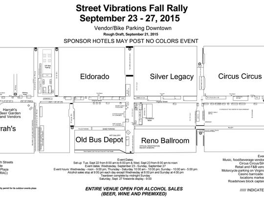 A map of downtown Reno for the Street Vibrations Fall Rally.