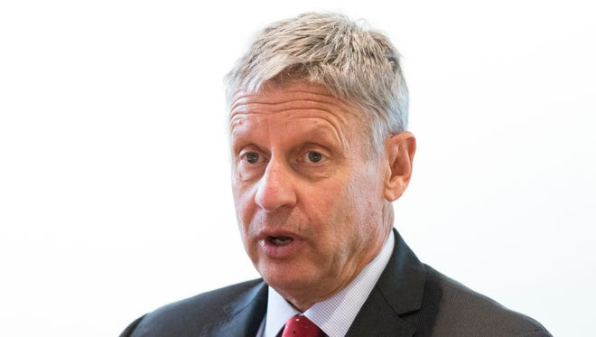 Gary Johnson speaks to the USA TODAY Editorial Board on Sept. 21, 2016.