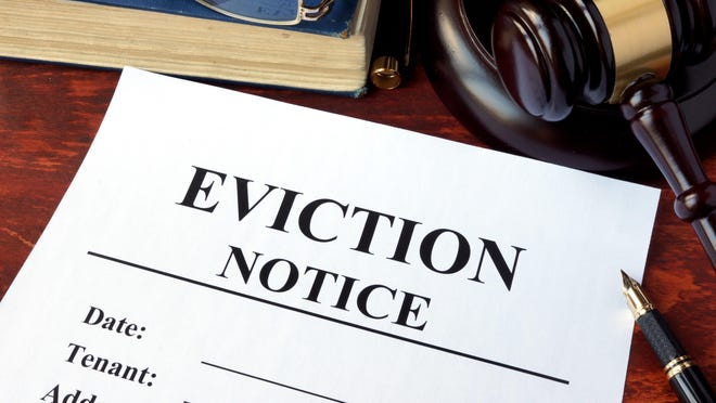 An eviction notice and gavel on a table. State Representatives Maureen Madden and Mike Schlossberg have teamed up on legislation aimed at helping renters stay in their home through a Tenant Eviction Mitigation bill package.