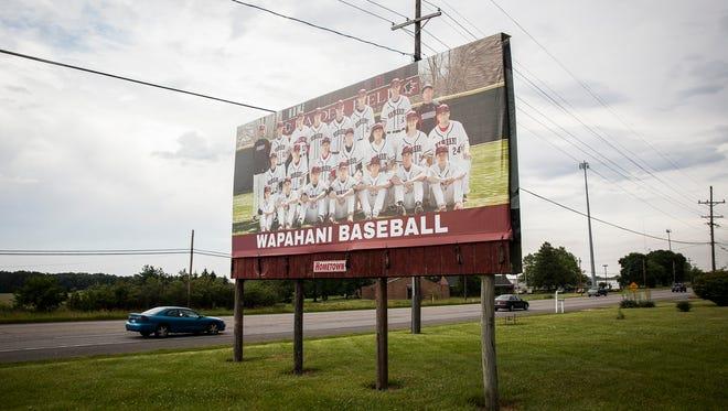 A Wapahani baseball billboard off of State Road 32 Wednesday afternoon.