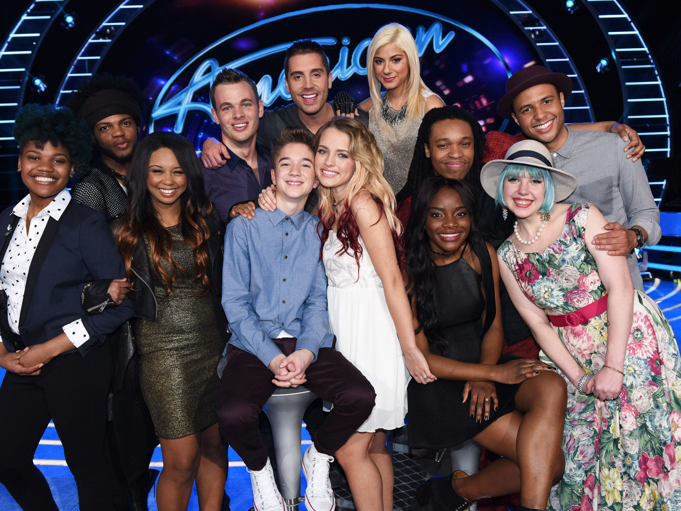 "The ""American Idol"" Top 12 included (left to right)"