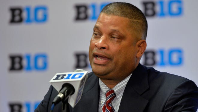 Rutgers men's basketball head coach Eddie Jordan speaks at the NCAA college Big Ten Media Day in Chicago on Thursday.